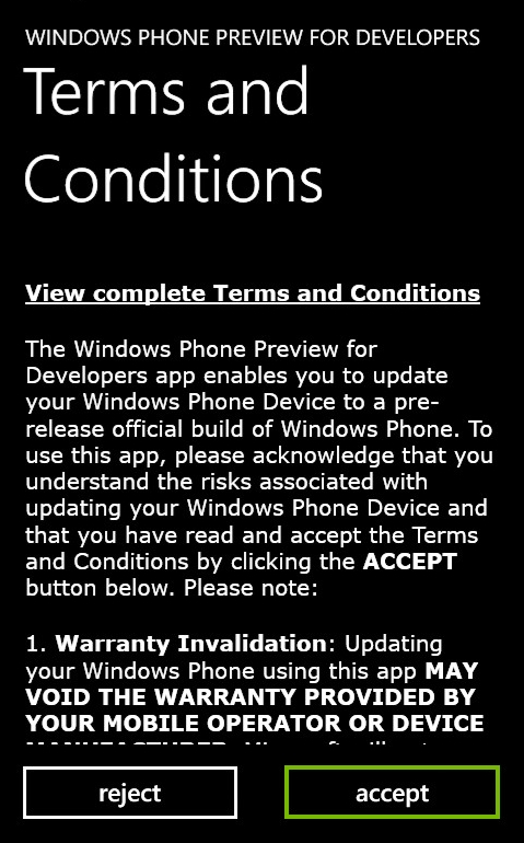 Terms and conditions with accept selected. Screenshot.