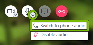 Down arrow on audio icon and Switch to Phone Audio option highlighted during a conference call in BlueJeans app.