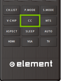 Element TV Remote with CC button highlighted.