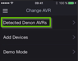 Denon remote app highlighting the detected denon AVRs option.