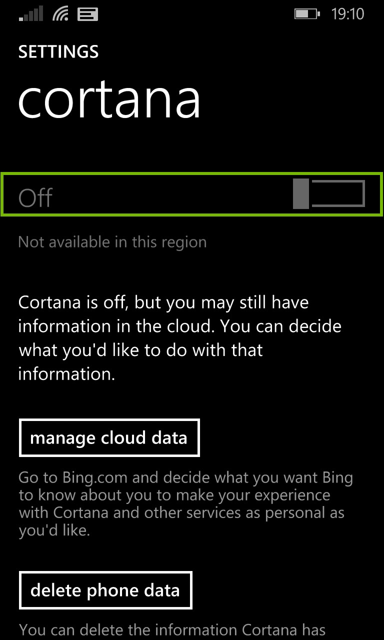Cortana toggle screen. Screenshot.