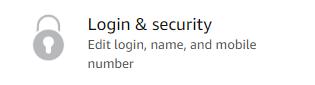 Login and Security menu