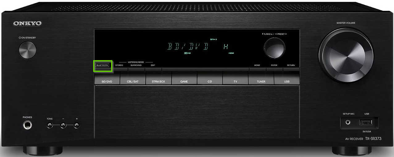 Front of an onkyo receiver showing the bluetooth button