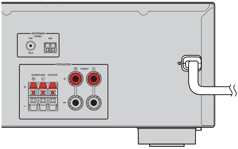 Diagram showing where the power cord is located on the back of the receiver