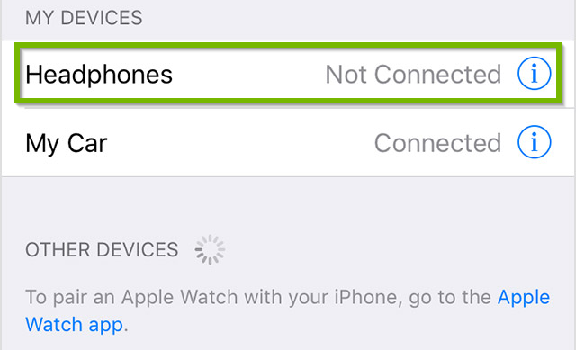Example of device called Headphones within the available Bluetooth devices list. Screenshot.