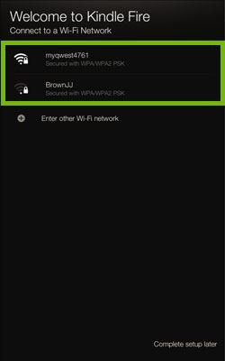 Welcome to Kindle Fire screen with list of available wireless networks.