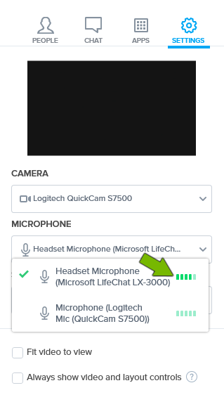 Volume bars pointed out for selected microphone in settings of BlueJeans app.