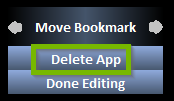 Move Bookmark screen with Delete App highlighted
