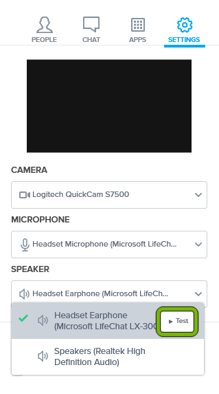 Test button highlighted for selected speaker in settings of BlueJeans app.
