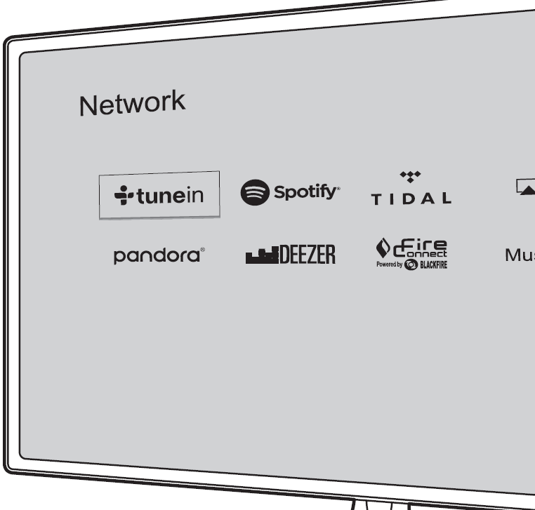 List of apps on TV screen