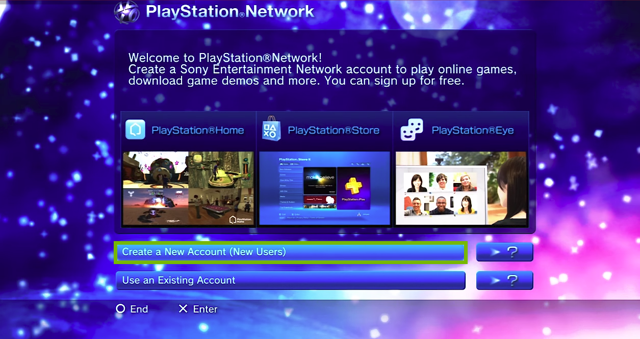 PlayStation Network welcome screen with Create new User selected. Screenshot.