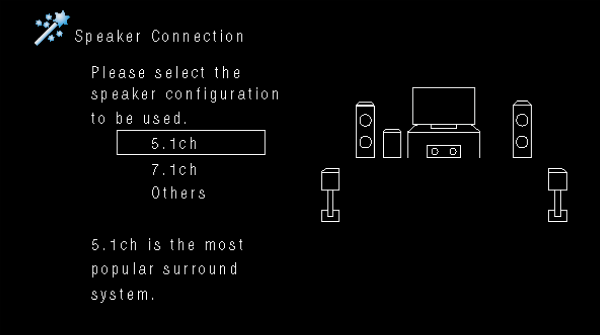 Denon receiver speaker connection screen with options for audio configuration.