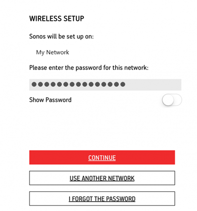 The wireless setup screen
