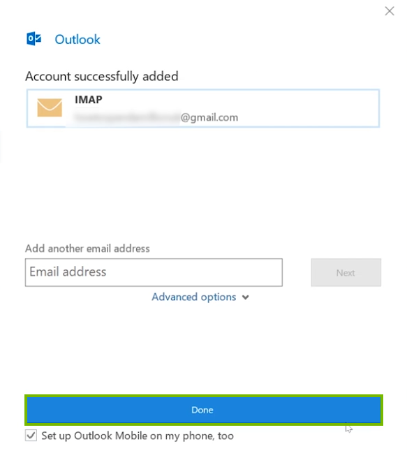 Outlook reporting that Gmail has been added