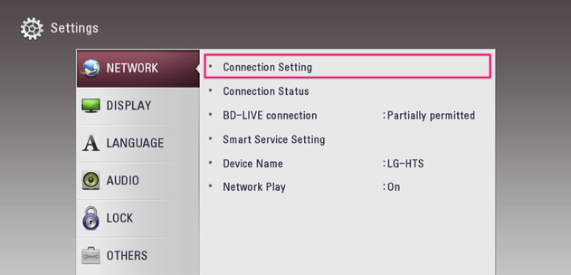 Network menu with setting highlighted