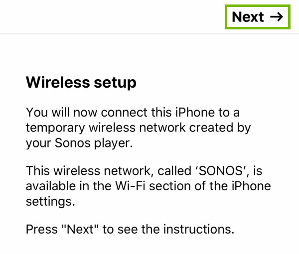 Next option highlighted on Wireless setup introduction screen within the Sonos app.