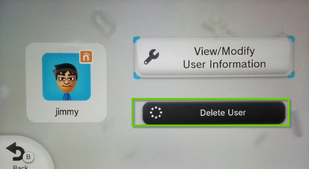 Wii u screen showing delete user button