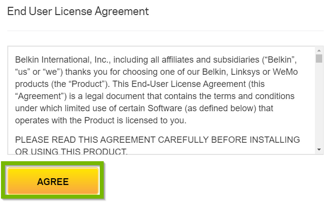 End User License Agreement with Agree button selected. Screenshot.