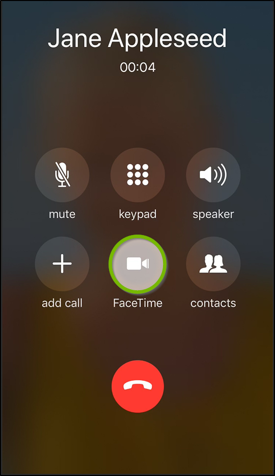 iOS Call screen highlighting the Facetime button.