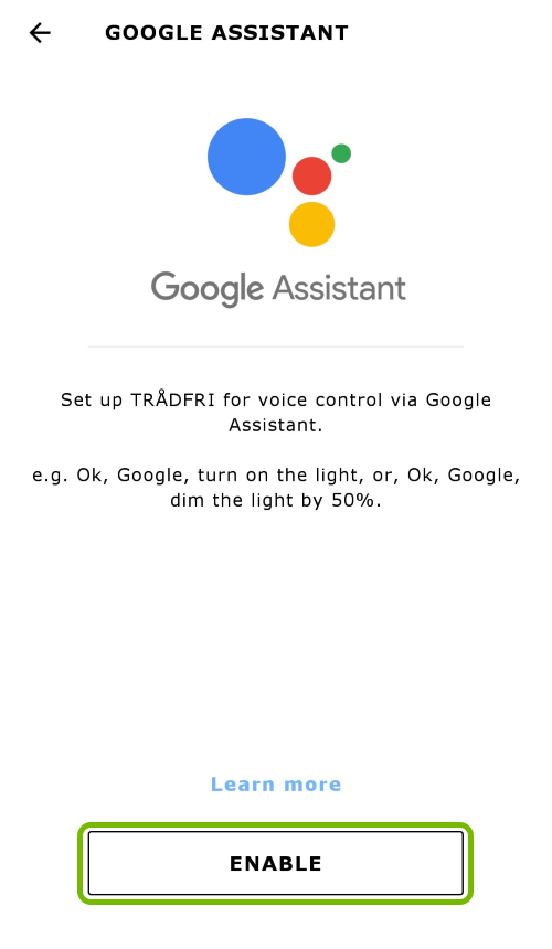 Enable option highlighted for Google Assistant in app settings.