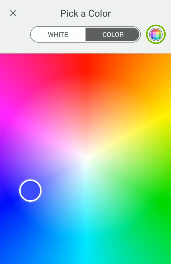 Fine tuning option highlighted in bulb color picker of Kasa app.