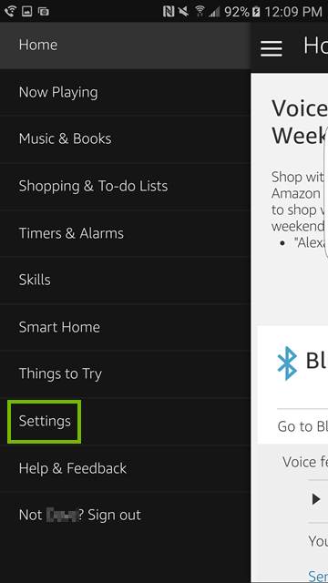 Settings highlighted is Alexa app menu.