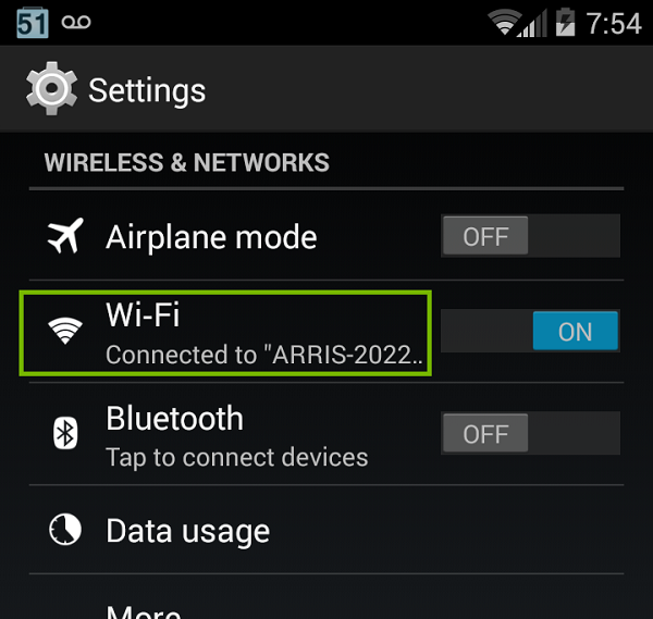 Settings menu with Wi-Fi highlighted. Screenshot