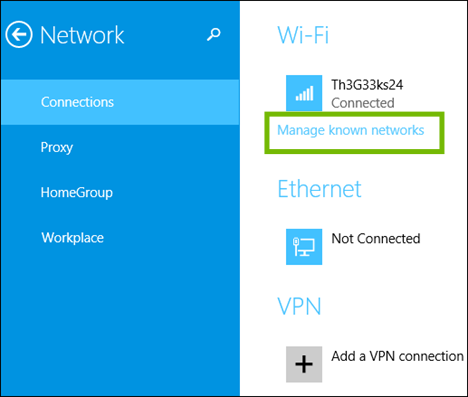 Network Connections with Manage known networks highlighted.