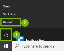 Start menu with Power and Restart highlighted. Screenshot