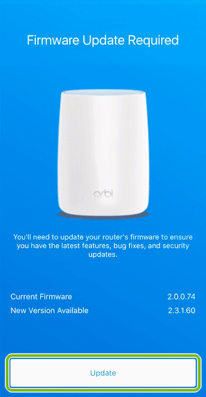 Update button highlighted on firmware check screen of Orbi app.