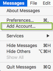 Message menu with Add account selected. Screenshot.
