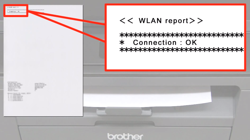 Example of the wireless connection report that will be printed upon successful connection. Illustration.
