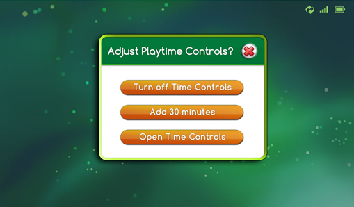 Screenshot of the LeapPad Ultimate's interface displaying available options for adjusting playtime controls.
