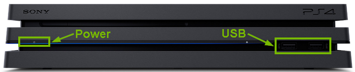 PlayStation 4 Pro front view with components highlighted.