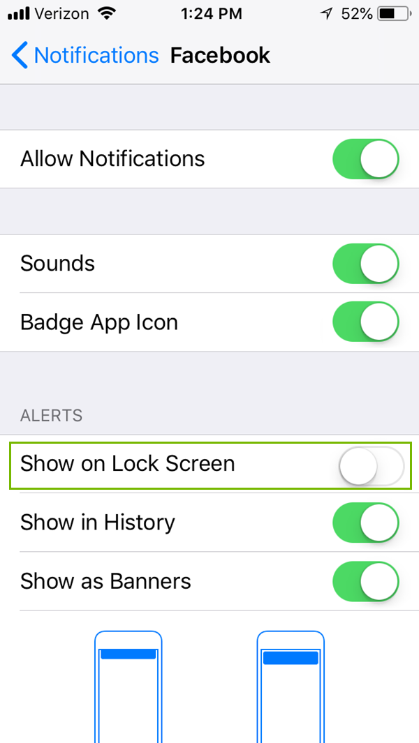Notifications for an app menu with Show on Lock Screen highlighted. Screenshot