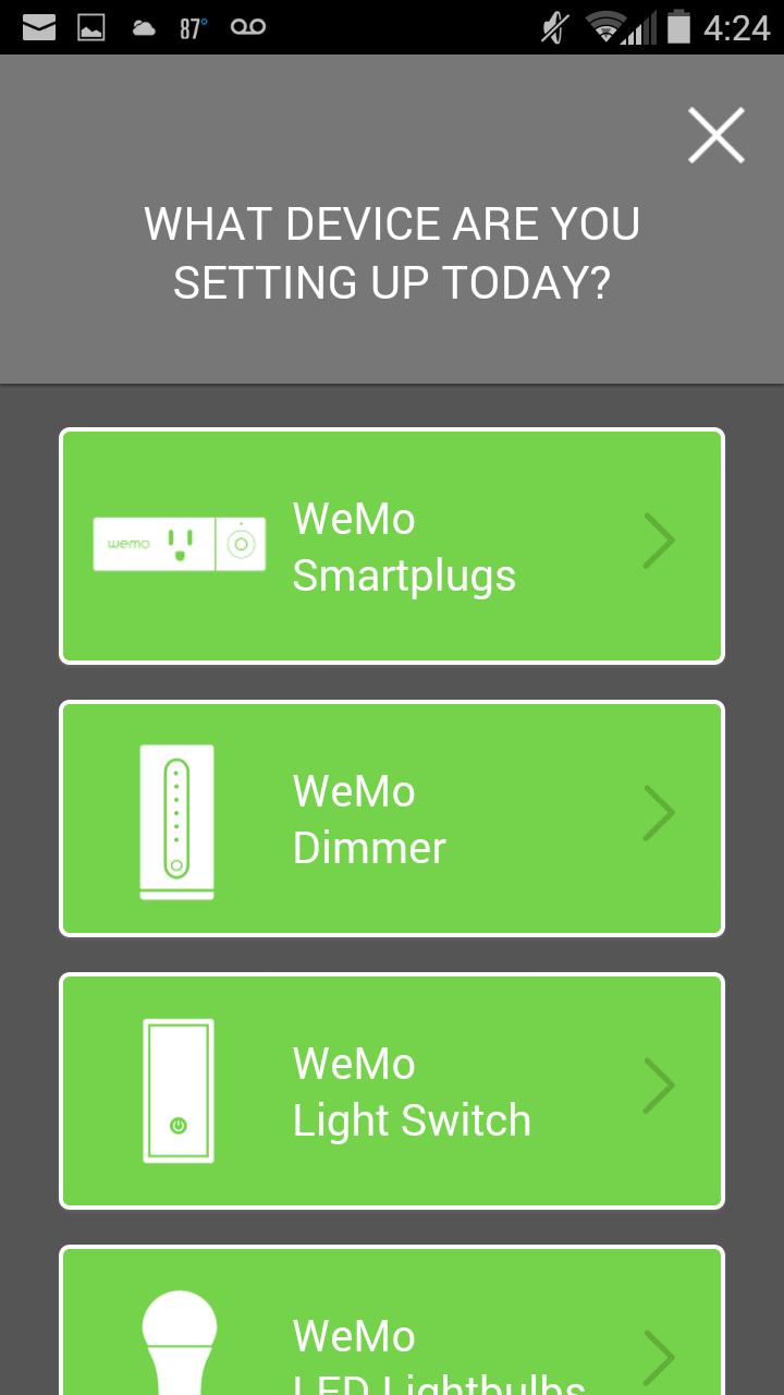 WeMo App. Choose WeMo Smartplugs. Screenshot
