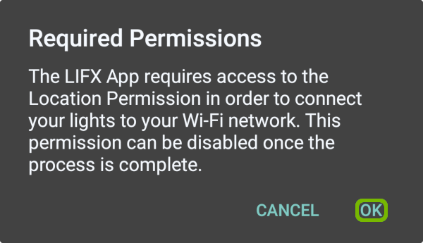 Extra permissions notice with OK highlighted.