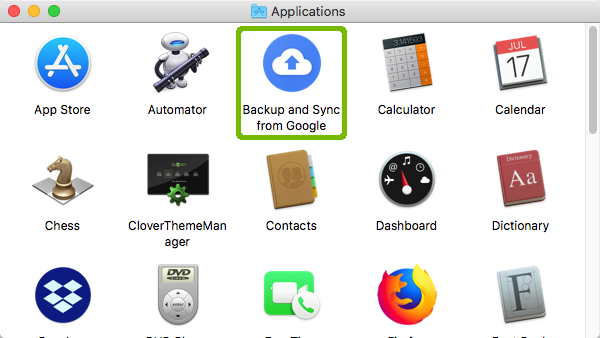 Applications with Backup and Sync from Google highlighted.