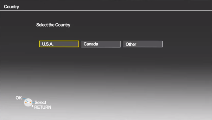 Country selection screen in setup wizard