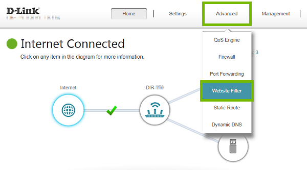 Advanced tab and Website Filter menu item highlighted in D-Link router web interface.
