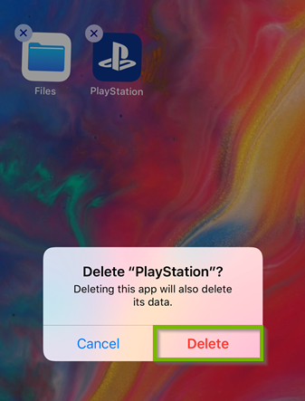Delete PlayStation confirmation box with Delete highlighted. Screenshot.
