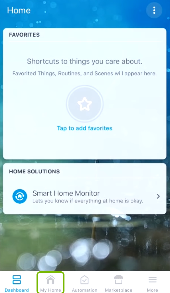 My Home tab highlighted in SmartThings app.
