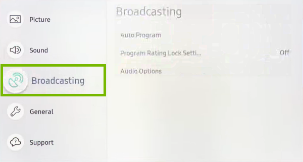 Broadcasting option highlighted in settings menu of Samsung Smart TV.
