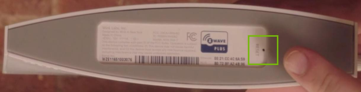Wink Home Hub 2 bottom reset button highlighted
