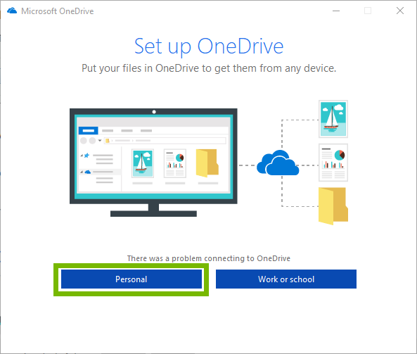 Microsoft onedrive setup page with Personal selected