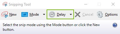 Delay button highlighted