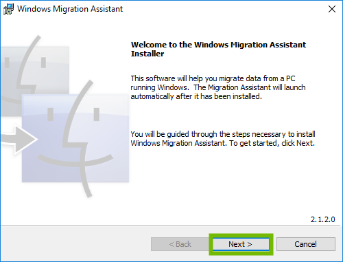 Migration Assistant welcome screen with Next highlighted.