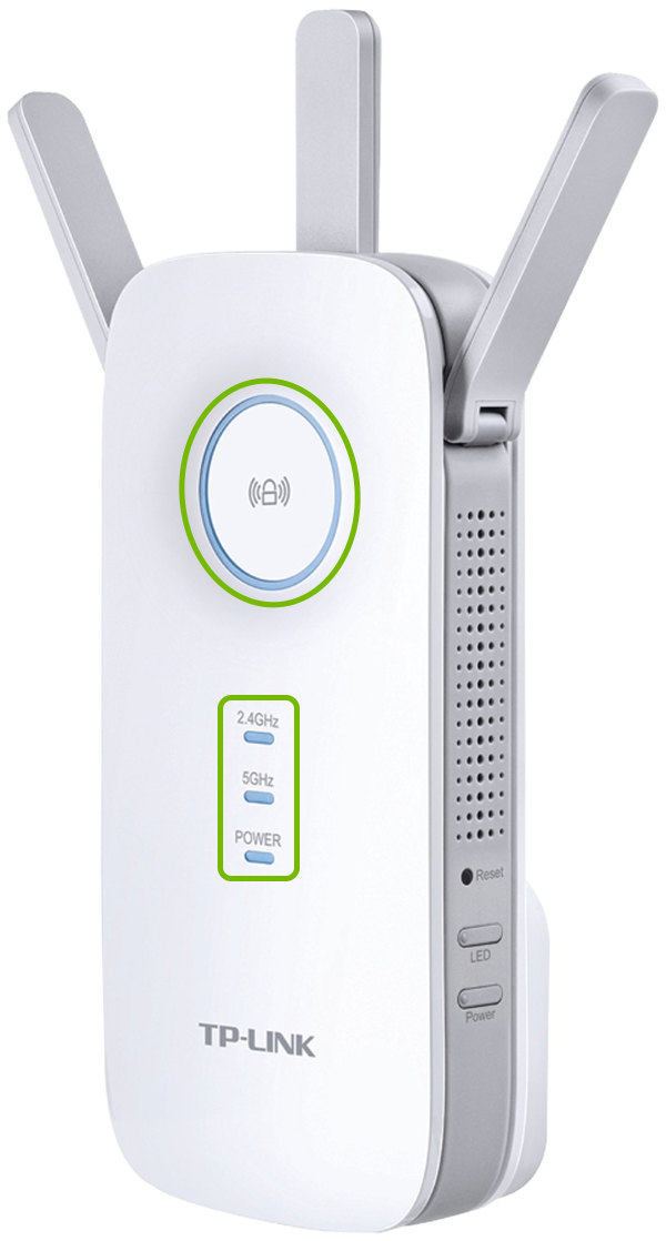 Indicator lights highlighted on front of TP-Link range extender.