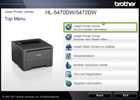 Brother printer software screen highlighting the install printer driver option.