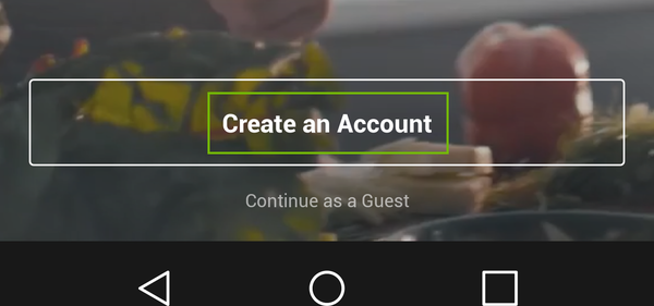 Create an account button.